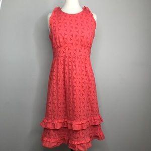 J. Crew Eyelet Cotton tie Back Midi Dress